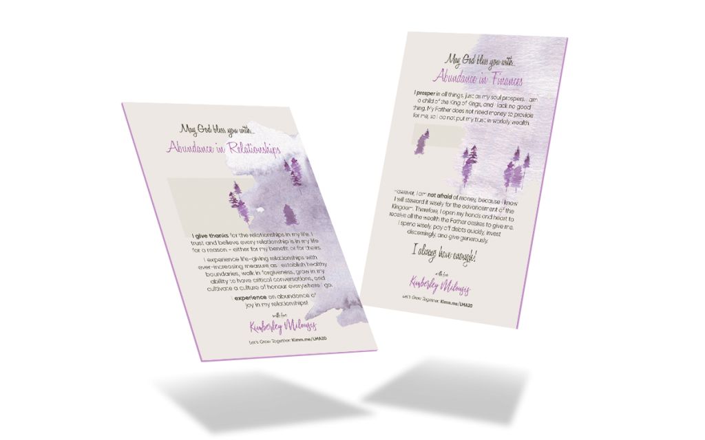 Life more abundantly course blessing cards to live a life of abundance